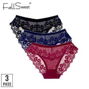 ¡FallSweet 3 unids/lote! Bragas encaje Sexy ropa interior Mujer Transparente M a XL ver a través Lingeire