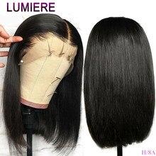Lumiere włosy peruwiański krótki 13*4 koronki przodu włosów ludzkich peruk wstępnie oskubane z dzieckiem włosy ludzki włos koronki Bob peruka Remy kolor 1B
