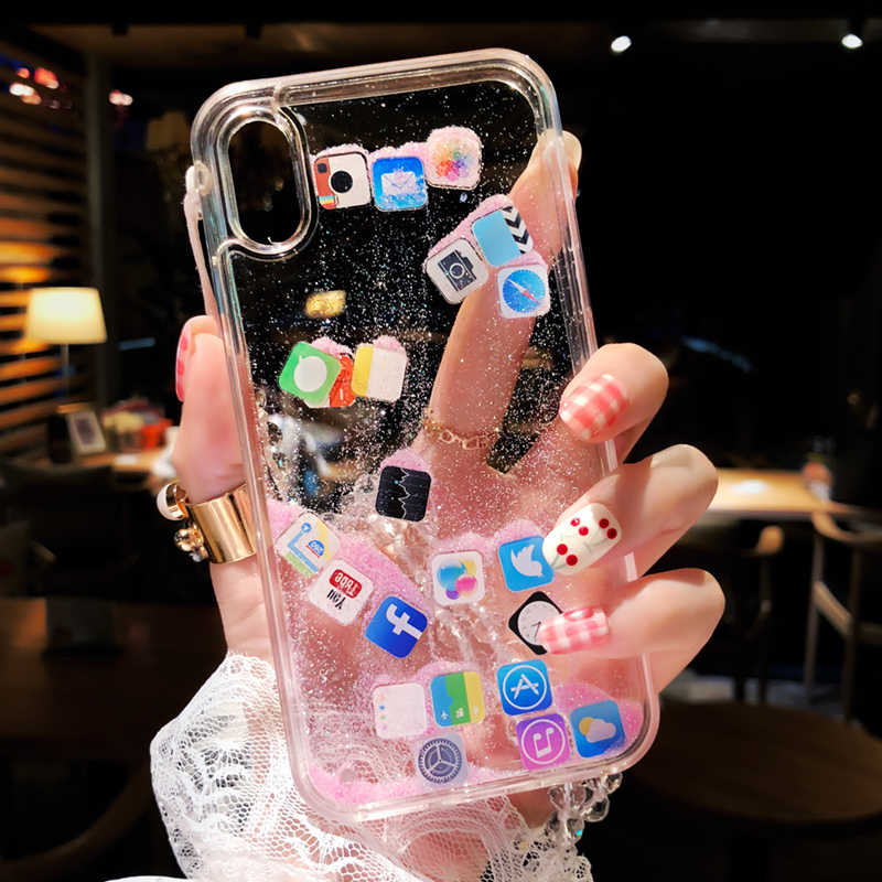 Funny Dynamic Apps Icon Phone Case for iPhone X 7 8 6 6S Plus Glitter Liquid Quicksand Transparent Cover For iPhone XS Max XR 10
