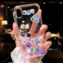 Funny Dynamic Apps Icon Phone Case for iPhone X 7 8 6 6S Plus Glitter Liquid Quicksand Transparent Cover For iPhone XS Max XR 10 the position icon transparent soft case for iphone x