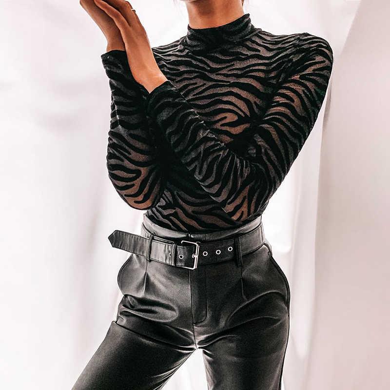 InsGoth เซ็กซี่ตาข่าย Bodycon Bodysuits ผู้หญิง Streetwear Gothic Hollow OUT แขนยาวสีดำชุดบอดี้สูทหญิงฤดูใบไม้ร่วง