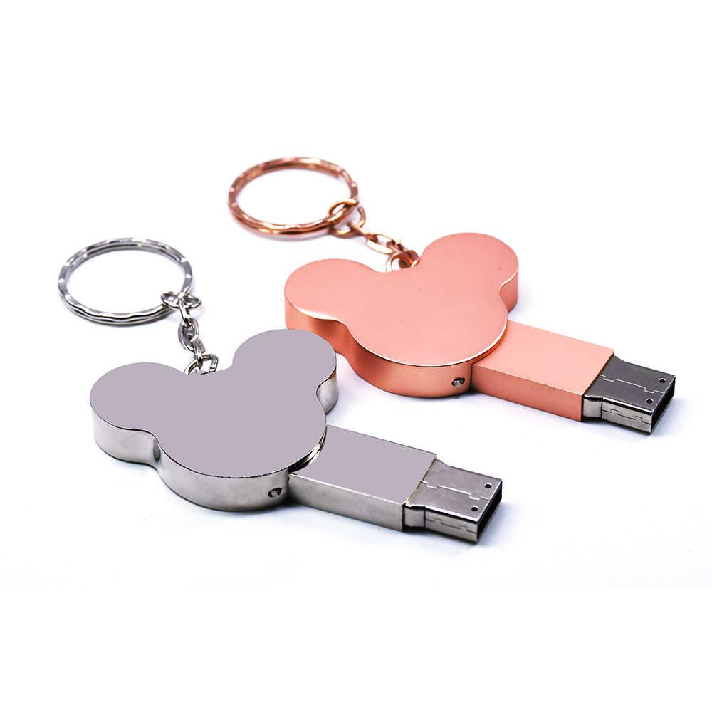 미키 마우스 pendrive 금속 usb 플래시 드라이브 4 기가 바이트 8 기가 바이트 16 기가 바이트 32 기가 바이트 64 기가 바이트 128 기가 바이트 256 기가 바이트 귀 미키 메모리 스틱 펜 드라이브 u 스틱