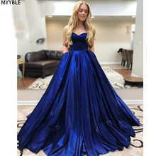 MYYBLE Elegant Sweetheart Ball Gown Prom Dresses Corset Lace Up Back Satin Sleeveless Pageant Party Gowns Evening Dress Long(China)