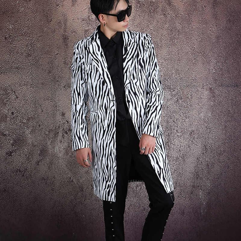 Streetwear Hip Hop Show Bovenkleding Mannen Zebra Patroon Enkele Knop Slim Fit Lange Jasje Blazer Jas Mannelijke