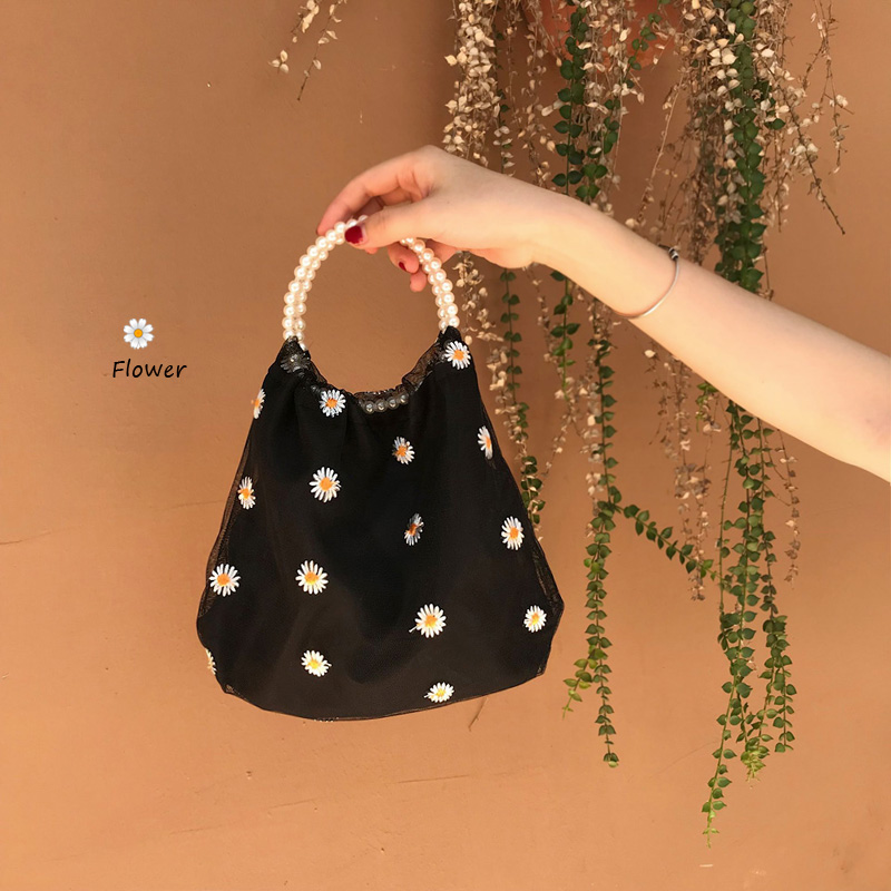 Women Lace Embroidery Floral Bags Ladies Purse Girls Fashion NEW Flower Bead Handbag Tote Shoulder Crossbody Bags Pearl Handbag