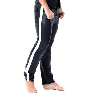 Image 4 - Erkekler seksi şerit Faux deri Lingerie egzotik pantolon PU lateks Catsuit fermuar kasık PVC Clubwear eşcinsel fetiş pantolon tayt zentai