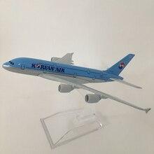 16 centimetri Modello di Aereo Aereo Modello di Aereo Korean Air Airbus a380 Modello di Aereo Diecast In Metallo Aerei 1:400 aereo Giocattolo Regalo