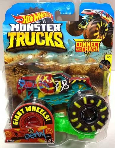 1: 64 оригинальные горячие колеса гигантские колеса Crazy Barbarism Монстр металлическая модель грузовика игрушки Hotwheels большая ножная машина детский подарок на день рождения - Цвет: 47 DEMO DERBY