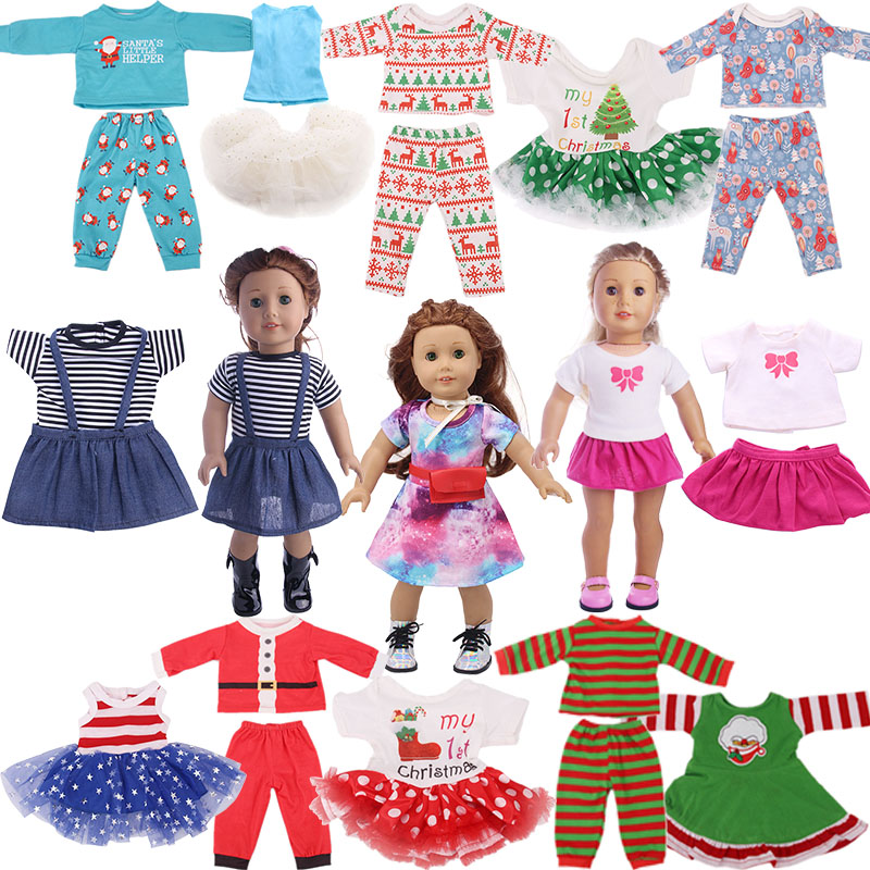 14 Styles Christmas Patterns 2 Pcs/Set Fit 18 Inch American&43 CM Born Baby Doll Clothes,Our Generation,Girl's Toy,Birthday Gift