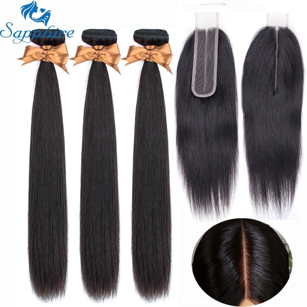 Sapphire Hair Malaysian Human Hair Bundles With Closure Hair Extension Straight Hair Bundles With Closure 2*6 Free Part Closure
