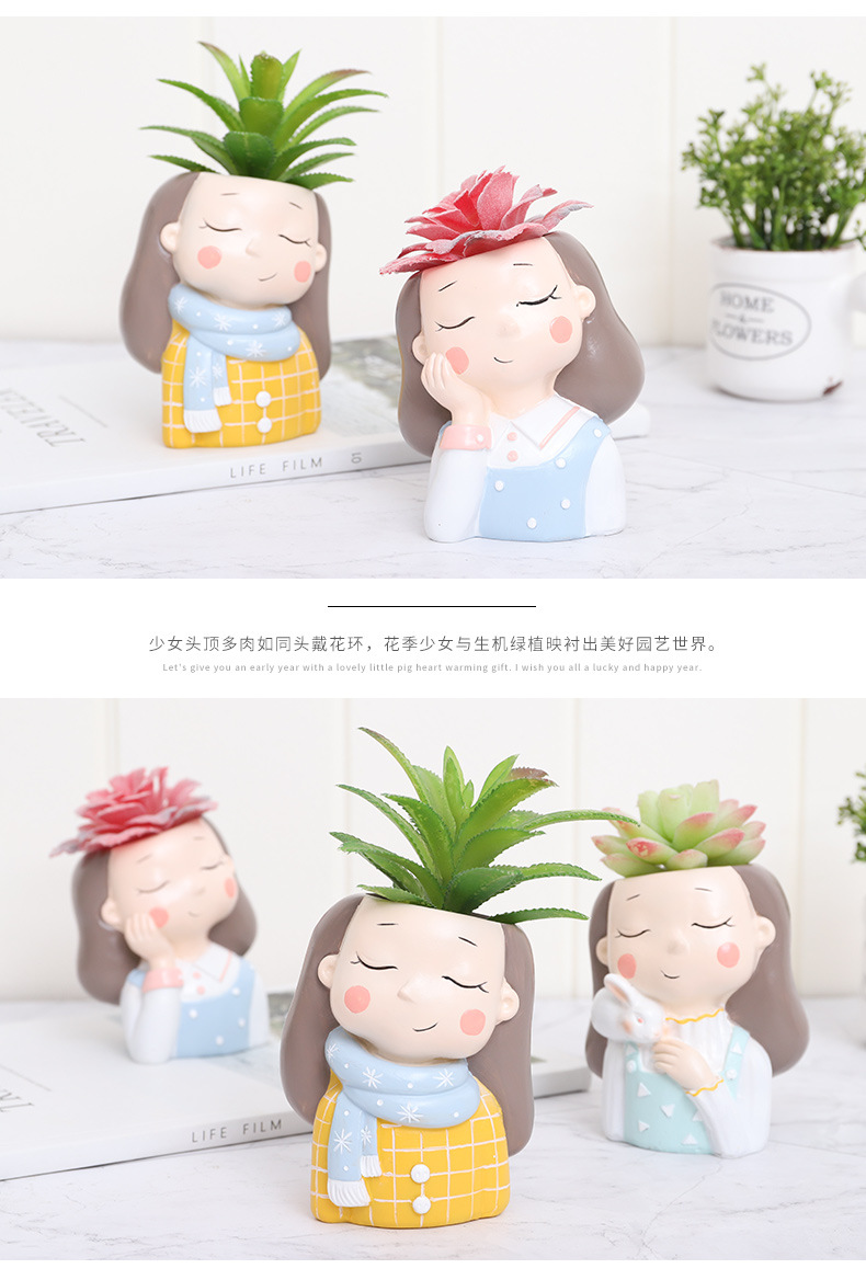 Creative Resin Succulent Plant Pots Mini Flower Pot Decorative Desktop Flowerpot Fairy Garden Home Garden Decoration-14 (3)