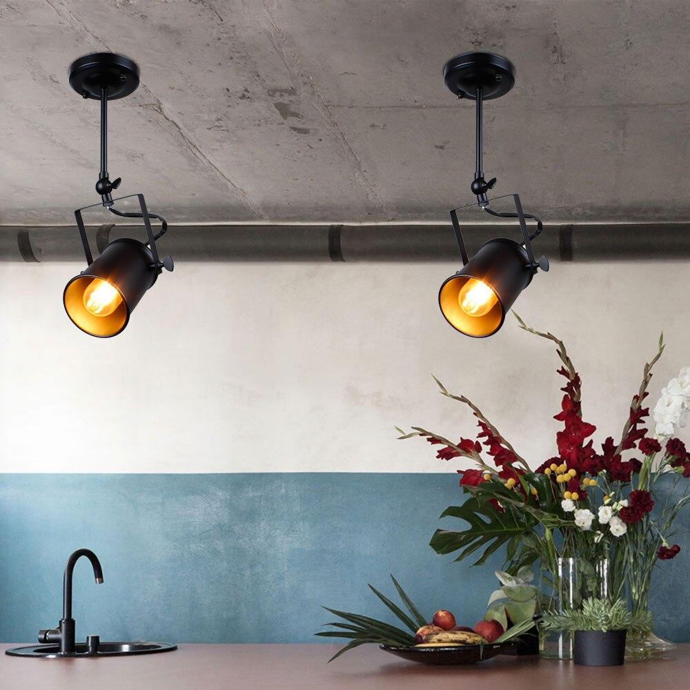 Lâmpada de teto industrial, iluminação retrô, e27,