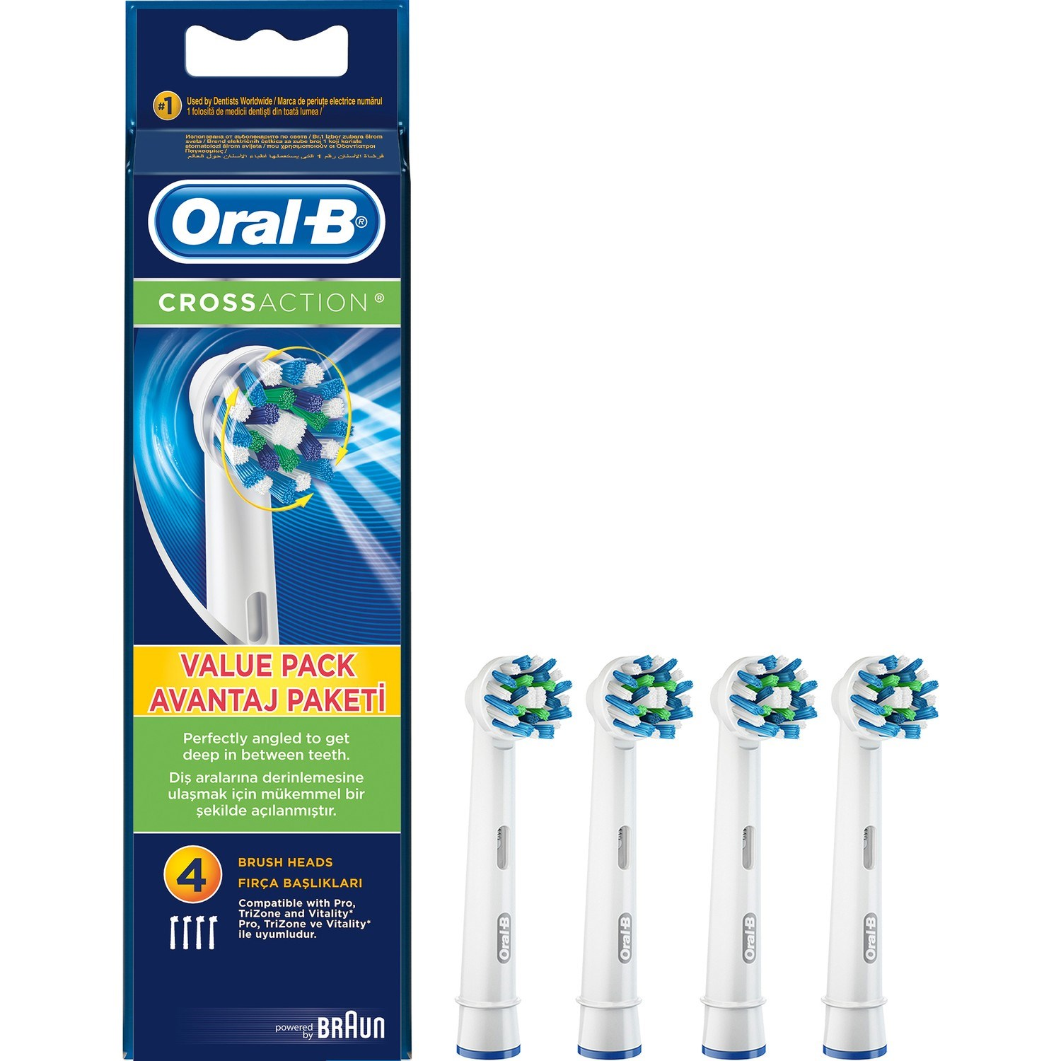 Oral-B CrossAction Electric Toothbrush Replacement Head 4'lü image