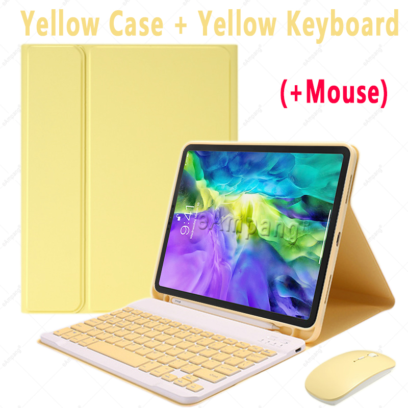 Yellow with Mouse Black For iPad Air4 10 9 2020 A2324 A2072 Keyboard Mouse Case English Russian Spanish Korean Keyboard
