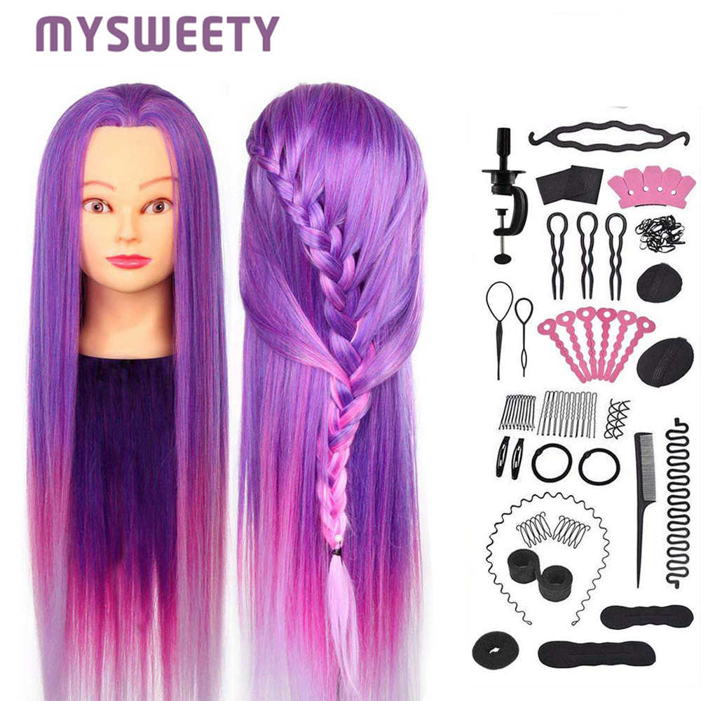 29.5 Inch Professional Cosmetology Doll  Mannequin Manikin Practice Styling Hairdressing Training Braiding Head