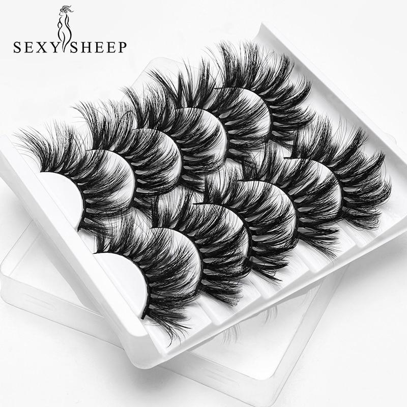 SEXYSHEEP 5Pairs 20-25mm 3D Faux Mink Hair False Eyelashes Natural/Thick Long Eye Lashes Wispy Makeup Beauty Extension Tools(China)