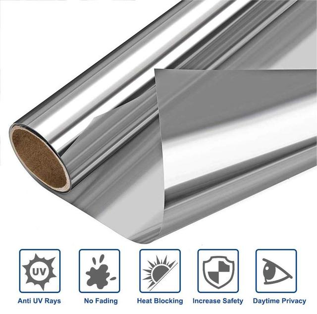 Privacy Window Film Mirror Tint One Way,Heat Control Window Vinyl Anti UV Stained Glass Coverings Self-adhesive Door Stickers 1