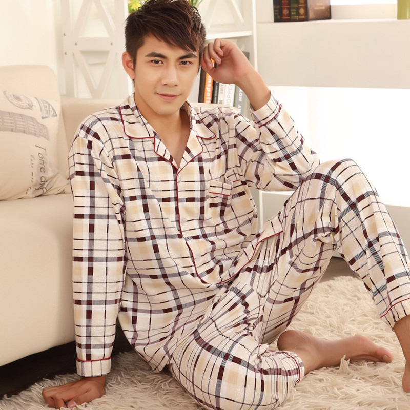 Plaid Pyjama Set Men Sleepwear Long Sleeve Turn-down Collar Cotton Pajamas For Men Nightgown Male Home Wear Casual Indoorwear