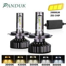 PANDUK H7 LED H4 ZES 20000LM 80W Canbus H11 H8 H1 9005 HB3 9006 HB4 LED HB3 LED Headlight Bulb Led for Car Lights 6000K 12V