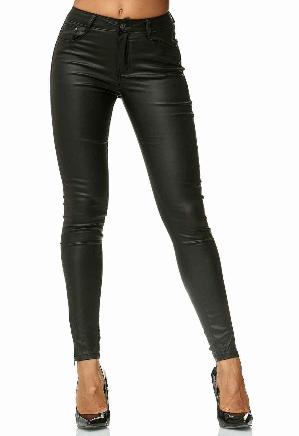 Zogaa Pantalones De Cuero De Cintura Alta Para Mujer Pantalon De Piel Sintetica Pitillos Elasticos Para Otono E Invierno Pantalones Y Pantalones Capri Aliexpress