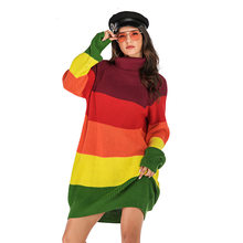 2019 Autumn Winter Casual Loose Knitted Sweater Dress Womens Turtleneck Long Sleeve Contrast Patchwork Thick Warm Ribbed Dresses(China)