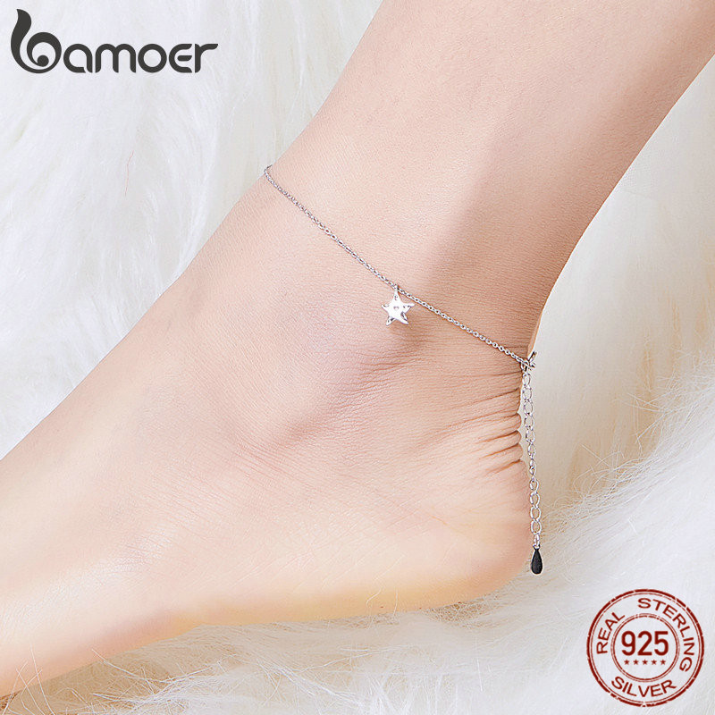Bamoer Simple Design Star Silver Anklet For Women Sterling Silver 925 Bracelet For Ankle And Leg Fashion Foot Jewelry SCT009