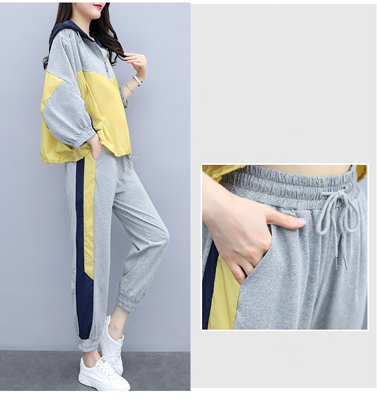 Grey Sport Casual Two Piece Sets Outfits Tracksuits Women Plus Size Hooded Tops And Pants Suits Spring Autumn Fashion Loose Sets 31
