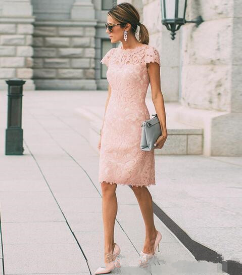 Blush Pink Full Lace <font><b>Mother</b></font> Of The Bride Dresses Plus Size Wedding Guest Dress Sheath Knee Length <font><b>Mothers</b></font> Outfits Casual Wear image