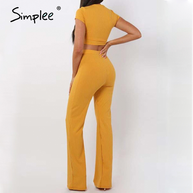 Short sleeve o-neck crop top wide leg pants 2 piece set jumpsuit