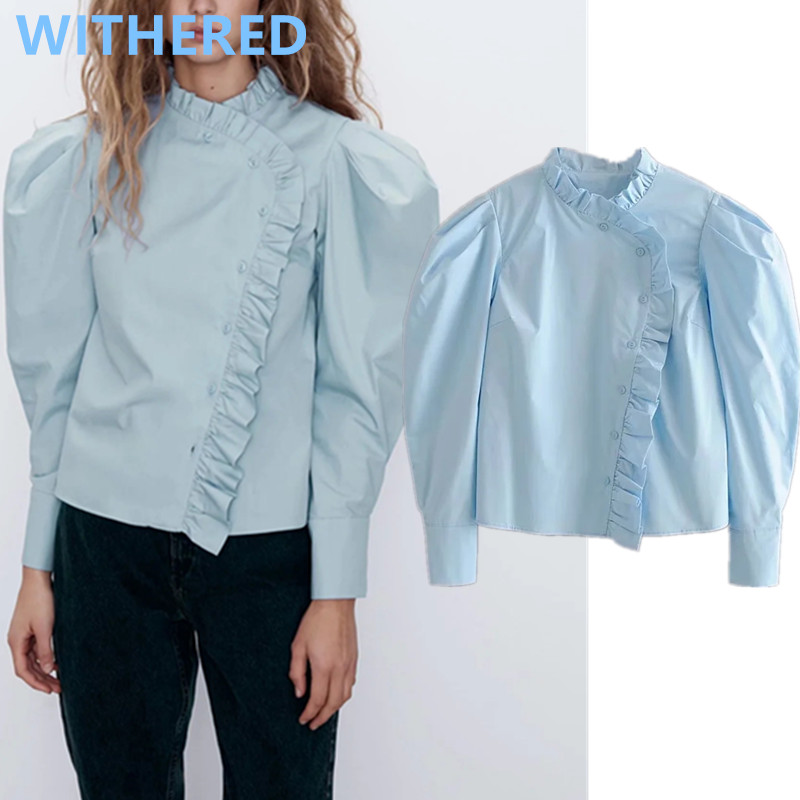 Withered England High Street Ruffles Solid Poplin Short Blusas Mujer De Moda 2020 Shirt Blouse Women Womens Tops And Blouses