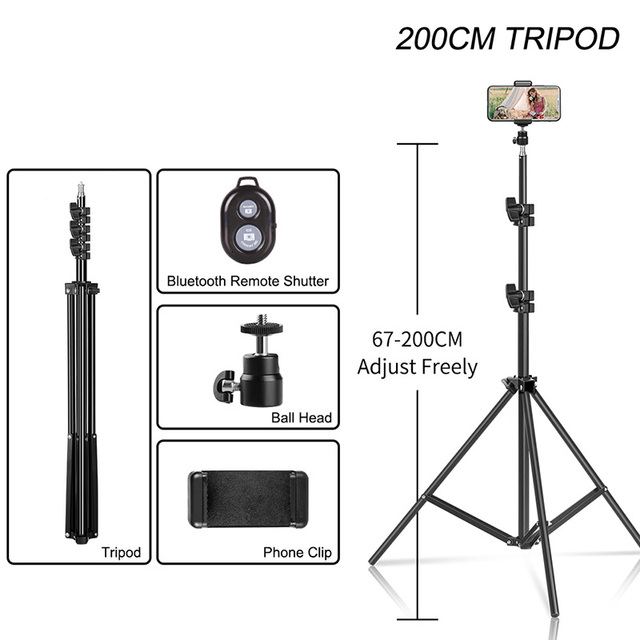SH Selfie Tripod 1/4 Screw Head Aluminum Tripod For Phone Stand Mount Digital Camera With Bluetooth-compatible Remote Control 5