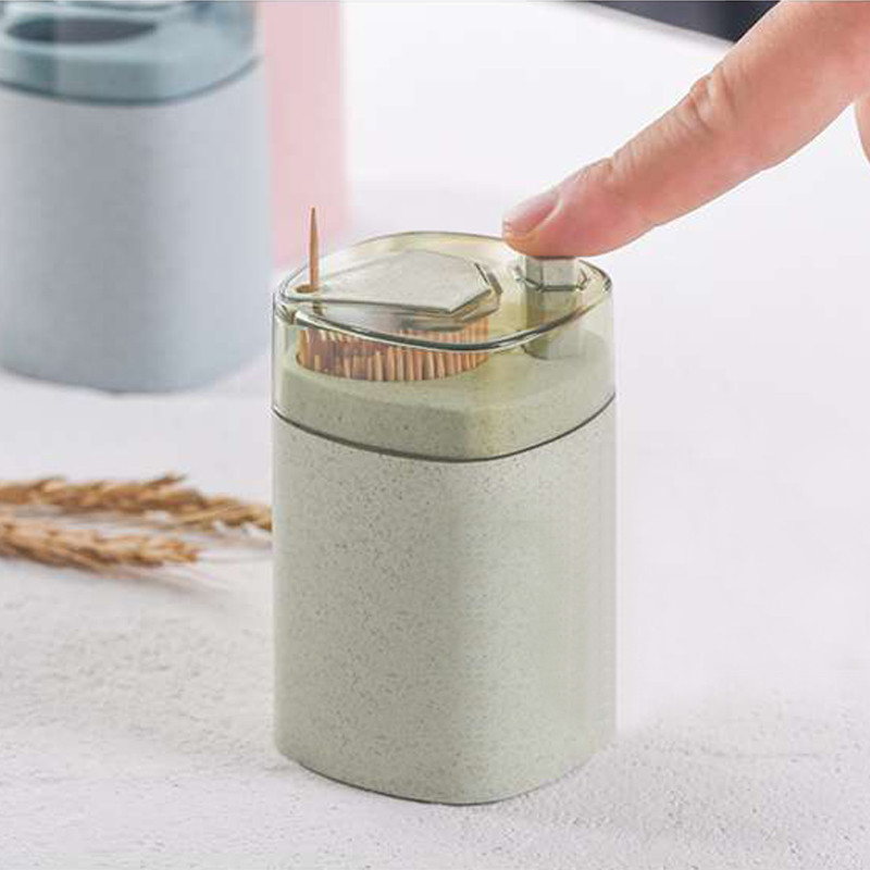 Automatic Toothpick Holder Storage Box Wheat Straw Hand Press Container Household Table Dispenser