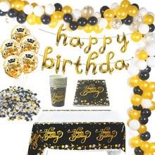 Cyuan – Ballons en Latex noir et or pour joyeux anniversaire, guirlande décorative en arc avec confettis, 21, 30, 40, 50 ans