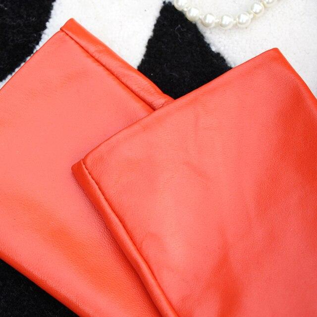 Фото оранжевые женские перчатки теплее длинные натуральные кожаные цена