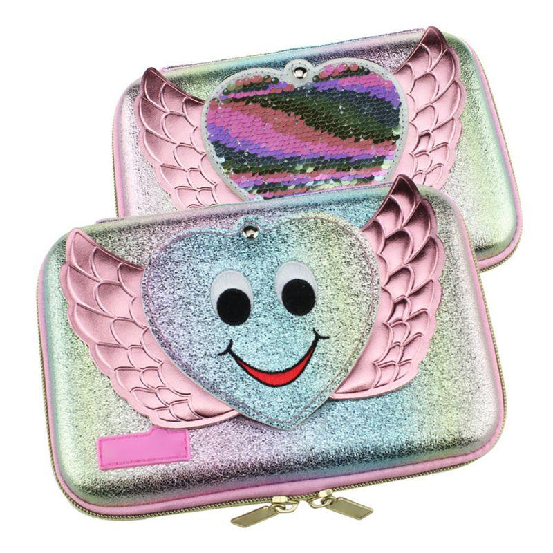 Lovely Pen Box Girls School Mirror Pencil Case Stationery Bag Ribbon Sequin Storage Organizer