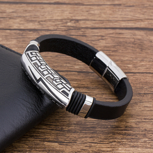 Fashion Charm Punk Rock Flash Magnet Stainless Steel lightning Men's Bracelet Leather Jewelry Wholesale Accessories Bangles недорого