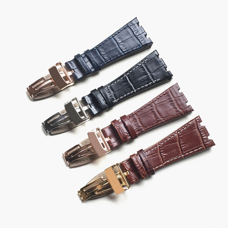 For <font><b>AP</b></font> 41mm Dial strap 26mm Black Blue Brown With Stitches Genuine Leather <font><b>Watch</b></font> <font><b>Band</b></font> Bracelet with steel deployment buckle image