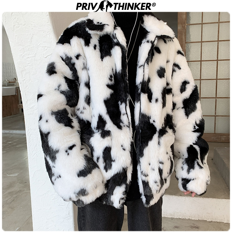 Privathinker 2019 Winter Men Cow Thicken Faux Fur Parka Jacket Male Fashion Loose Warm Coat Male Streetwear Winderbreak Oversize