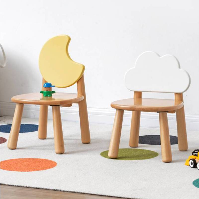European Beech Backrest Simple Study Stool Solid Wood Children's Chair Environmental Protection Student Writing Детская мебель