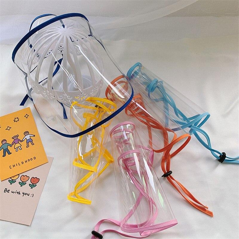 Removable Adjustable Anti-Fog Clear Transparent Plastic Full-Face Shield Visor Hat Caps For Women Men Children Kids
