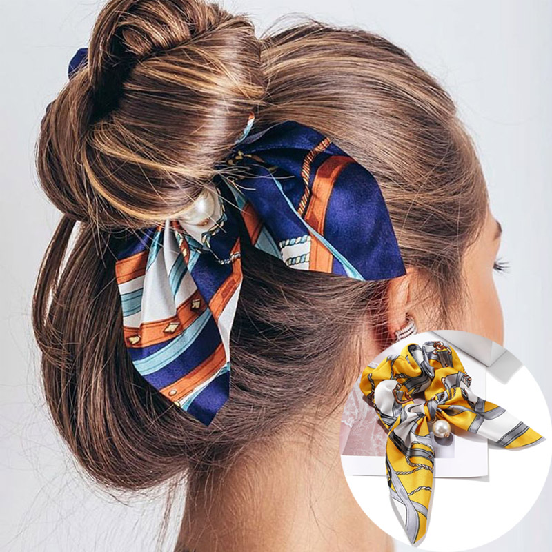 2019 New Chiffon Bowknot Hair Bands Elastic Women Pearl Hair Rope Ponytail Holder Hair Tie Rubber Bands Accessories