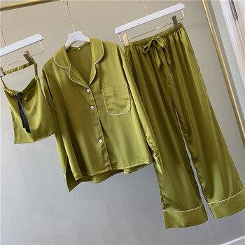 Lisacmvpnel Pure Color Woman Long Sleeve Stain Pajama Set Satin Soft Fashion Pajamas - discount item  40% OFF Women's Sleep & Lounge