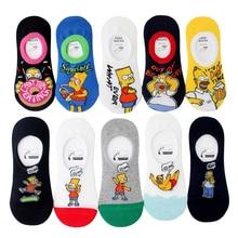 Simpson Streetwear Trenddy Invisible Boat Socks Women Slippers Non-Slip Cartoon Comic Family Cotton Sox for