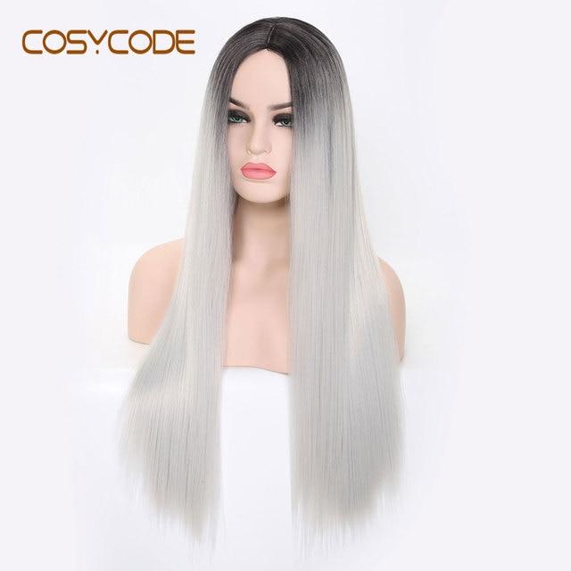 COSYCODE синтетический длинный прямой парик для женщин, 24 дюйма, средняя часть, серебристый, не кружевной, косплей, костюм, парик, термостойкий, Хэллоуин