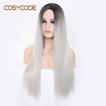 COSYCODE sentetik uzun düz peruk kadınlar için 24 inç orta parçası gümüş olmayan dantel Cosplay kostüm peruk isıya dayanıklı cadılar bayramı