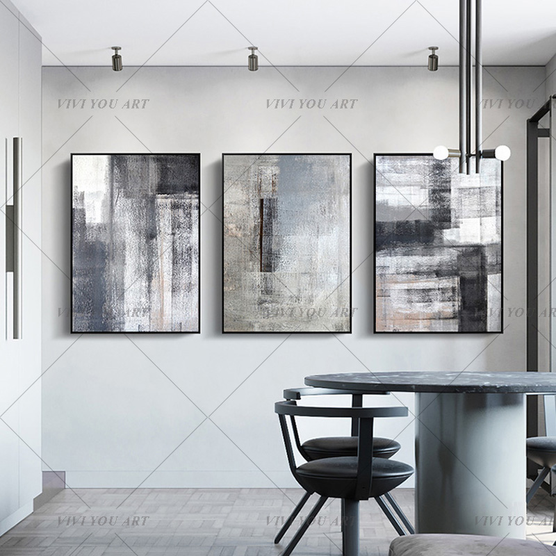 High Quality Hand-painted Abstract Painting Large Original Oil Painting Modern Art Taupe White Black Contemporary Design Canvas title=