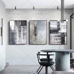 Wysokiej jakości ręcznie malowane abstrakcyjne malarstwo duży oryginalny obraz olejny sztuki współczesnej Taupe biały czarny we współczesnym stylu na płótnie