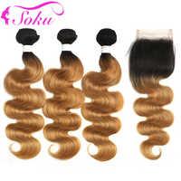 Ombre Bundles Mit Verschluss 1B/27 Honig Blonde Körper Welle Bundles Mit Verschluss SOKU Brasilianische Haar Weben Mit Schließung 4x4 Nicht-Remy