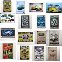 Vintage décor à la maison Ford VW Chevrolet Volvo GTX Castrol voiture métal étain signes mur Art peinture affiche Bar café Garage décor