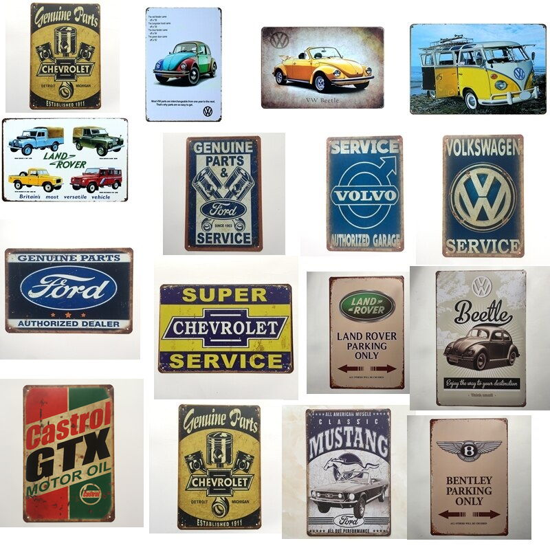 Vintage Home Decor Ford VW Chevrolet Volvo GTX Castrol Car Metal Tin Signs Wall Art Painting Poster Bar Cafe Garage Decor